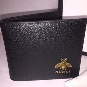 Gucci Gold Bee Black Wallet Authentic